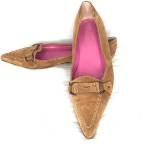 J Crew Suede Pointed Toe Flats Made In Italy